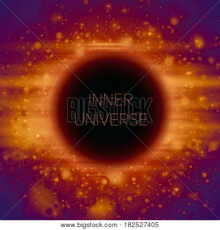 Abstract vector background of strange Black Hole in space. Shining stars falling into darkness. Sparkles of alien stars. Inner universe or subatomic world illustration.