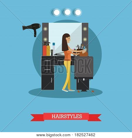 Vector illustration of professional hairdresser doing hair of her client female. Hair salon services, hairstyles concept flat style design element.
