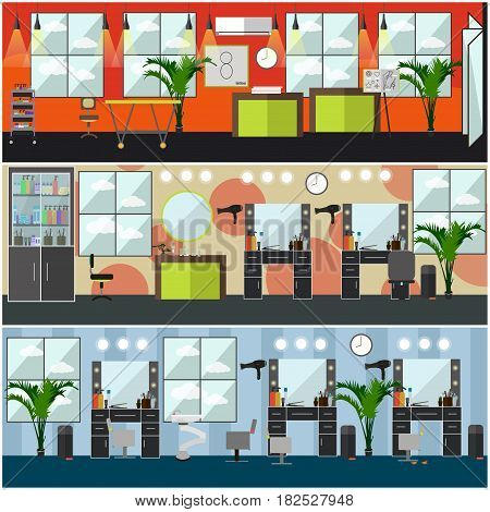 Vector set of barbershop, hair salon, tattoo studio interior posters, banners. Flat style design elements.
