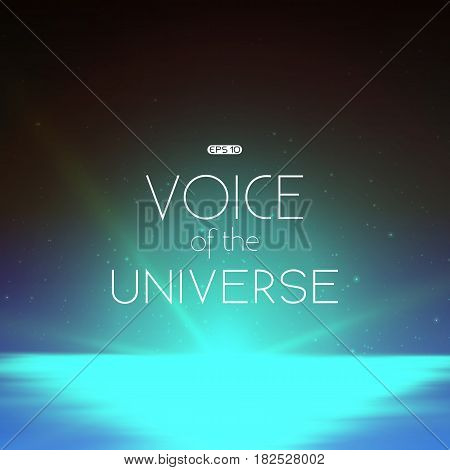 Abstract vector background with morning landscape and sky with stars. Glow of rising sun over the water surface. Morning on distant planet. Sparkles of alien stars. Glowing solar path on surface.