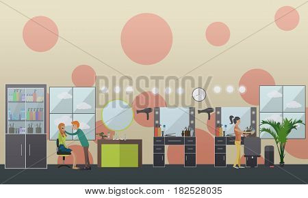 Vector illustration of professional body piercer performing piercing, hairdresser doing hair of her client. Flat style design.