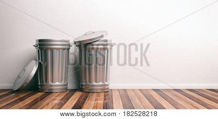 Trash Cans On A Wooden Floor 3D Illustration