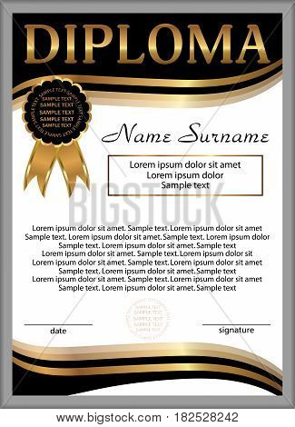 Diploma or certificate template. Vertical background. Winning the competition. Reward. Vector illustration.