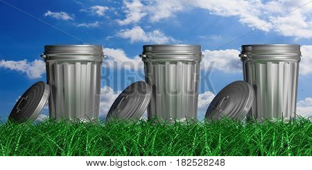 Trash Cans On A Blue Sky And Grass Background. 3D Illustration