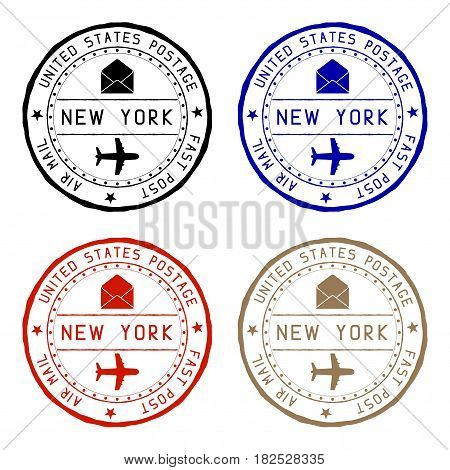 New York mail stamps. Colored set of round impress. Vector illustration isolated on white background