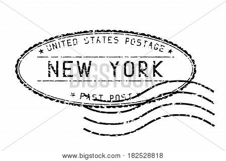 Black faded mail stamp. New York post. Vector illustration isolated on white background