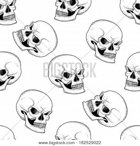 Graphic skull with fearful smile. Vector seamless pattern. Coloring book page design for adults