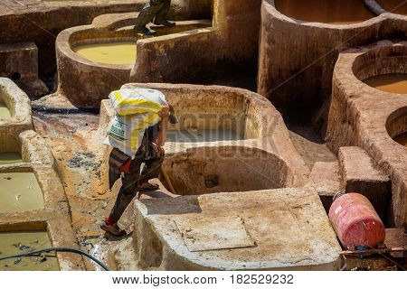 Fes, Morocco - February 28, 2017: Hard Work In The Tanneries In Fes, Morocco