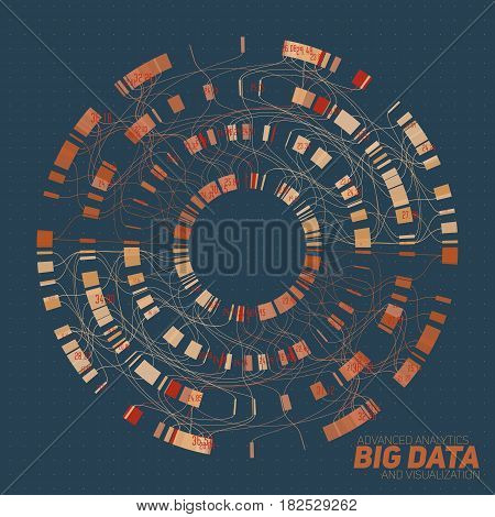 Big data visualization. Futuristic infographic. Information aesthetic design. Visual data complexity. Complex data threads graphic visualization. Social network representation. Abstract round graph.