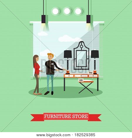 Vector illustration of salesman showing dressing table to buyer young woman. Furniture store concept design element in flat style.