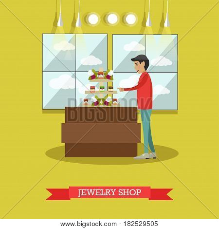 Vector illustration of young man looking at jewelry shop display case. Jewelry store concept flat style design element