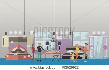 Vector illustration of seller and buyers choosing furniture for bedroom. Furniture store concept design elements in flat style.