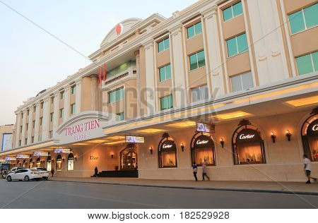 HANOI VIETNAM - NOVEMBER 22, 2016: Unidentified people visit Trang Tien Plaza. Trang Tien Plaza is an iconic shipping mall landmark set at the corner of Hoan Kiem Lake right in the city centre.