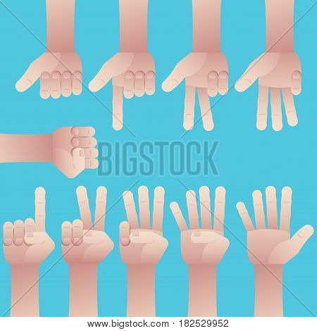 Set of male hands gesture counting number from zero to nine on blue background