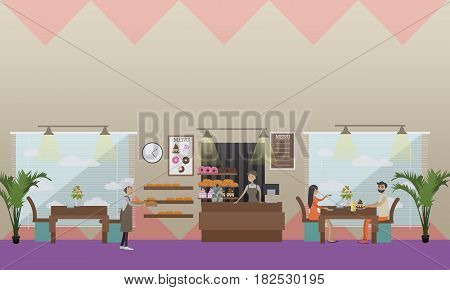 Vector illustration of saleswoman, baker at work and visitors eating pastry. Bakery, candy store concept design elements in flat style.