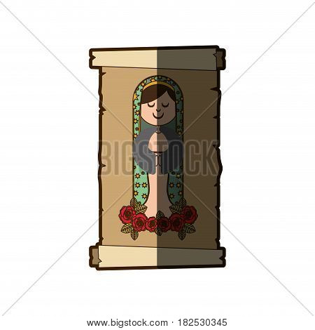 background with canvas of virgin of guadalupe with floral ornament of roses with half shadow vector illustration