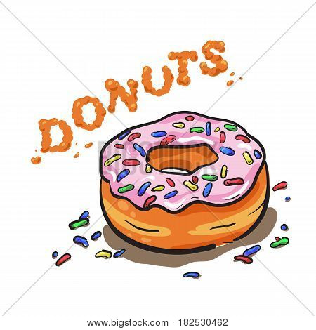 Vector sugar donut illustration. Caramel donut. Donut with topping for bakery menu.