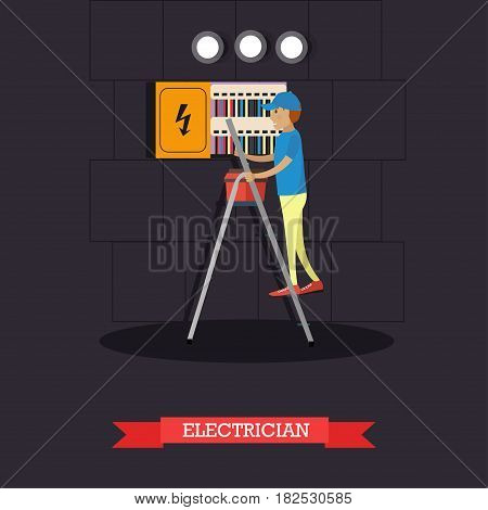 Vector illustration of electrician installing, maintaining or repairing electrical power, lighting system. Flat style design element.