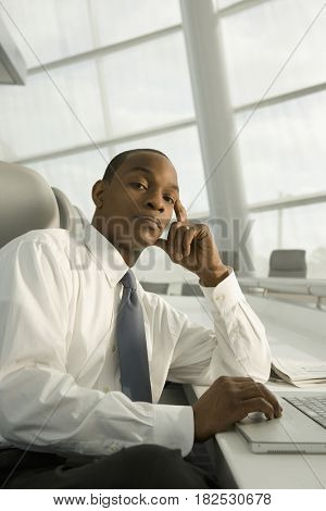 African businessman looking serious