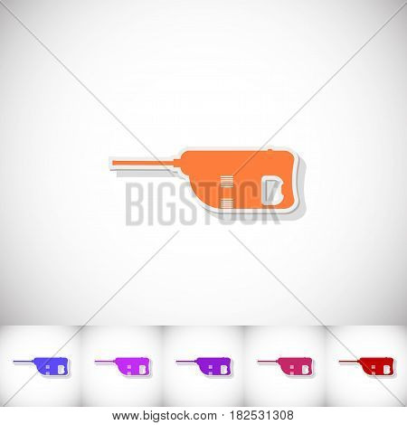 Jackhammer. Flat sticker with shadow on white background. Vector illustration