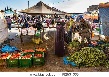 Fes, Morocco - February 28, 2017: The Market In Medina Fes, Morocco