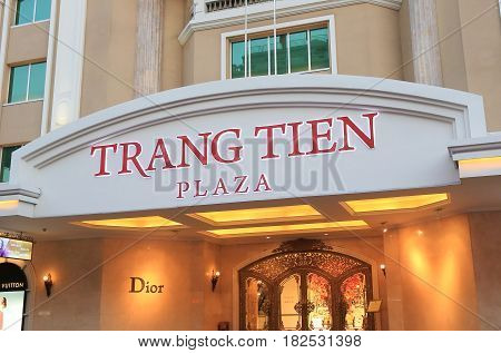 HANOI VIETNAM - NOVEMBER 22, 2016: Trang Tien Plaza. Trang Tien Plaza is an iconic shipping mall landmark set at the corner of Hoan Kiem Lake right in the city centre.