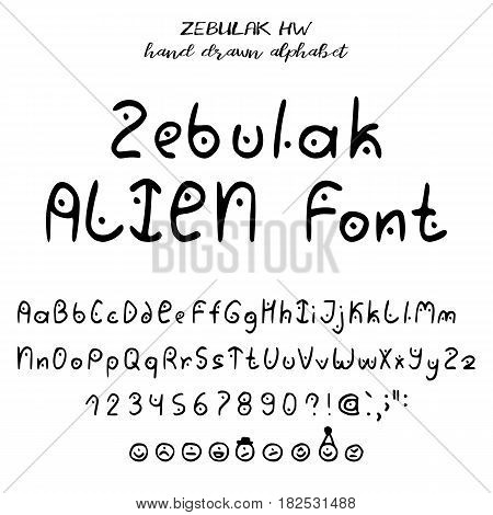 Hand drawn alphabet written font in style of alien lettering: upper- and lowcase latin letters numbers some punctuation and emoticons of aliens. Vector illustration