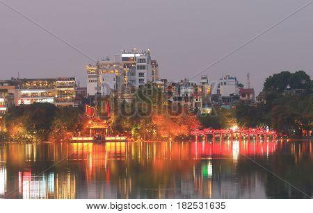 Hoan Kiem lake night cityscape in Hanoi Vietnam