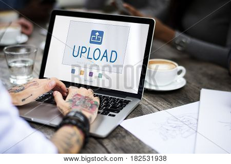 Upload is a file transfer to the internet.