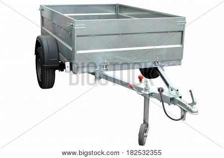 Open car trailer isolated on a white background.