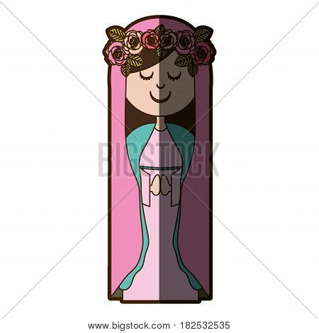 white background of virgin with crown of roses and pink mantle vector illustration