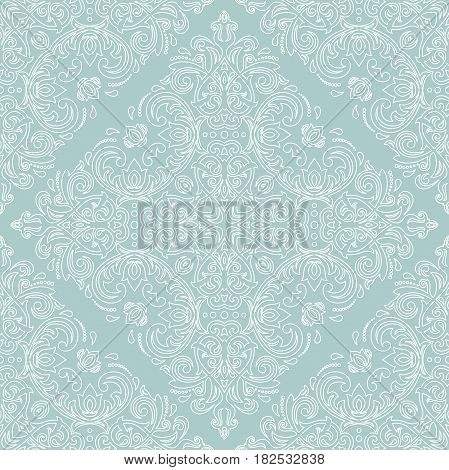 Classic seamless vector pattern. Traditional orient ornament with white outlines. Classic vintage background