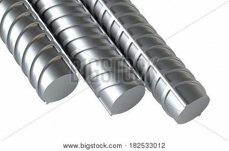 Reinforcing steel. 3d Illustration on white background