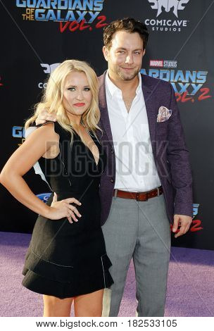 Emily Osment and Jonathan Sadowski at the Los Angeles premiere of 'Guardians Of The Galaxy Vol. 2' held at the Dolby Theatre in Hollywood, USA on April 19, 2017.