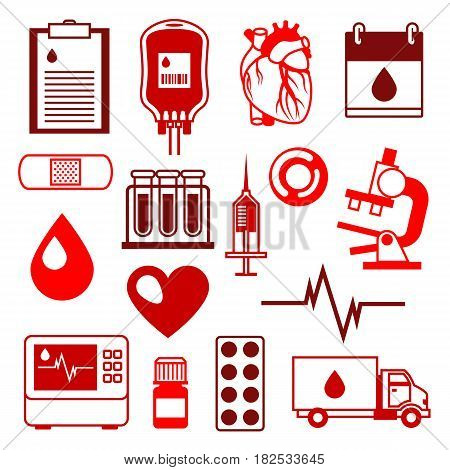 Set of blood donation items. Medical and health care objects.