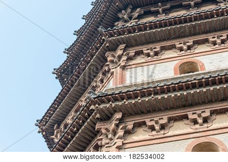 Hebei, China - Oct 23 2015: Lingxiao Pagoda At Tianning Temple. A Famous Historic Site In Zhengding,