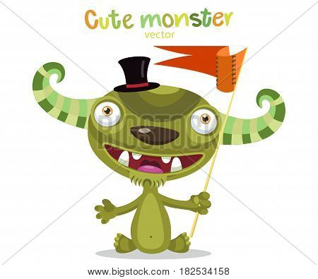 Brave Monster. Very Happy Colorful Monster Funny Character With Flag. Cartoon Monster Mascot Vector Illustration On A White Background.
