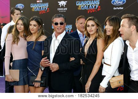 Michael Rosenbaum, Sylvester Stallone, Scarlet, Sistine, Sophia, Jennifer and Frank at the LA premiere of 'Guardians Of The Galaxy Vol 2' held at the Dolby Theatre in Hollywood, USA on April 19, 2017.