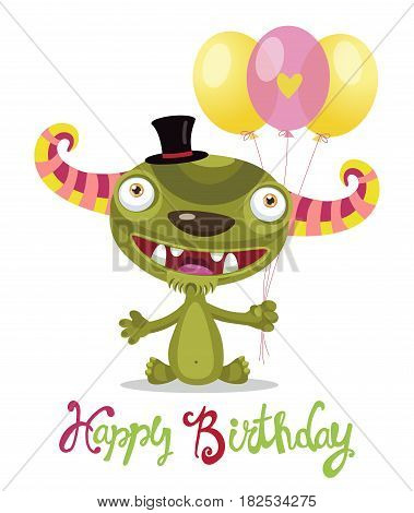 Cute Monster With Color Balloons Vector. Cartoon Monster Vector Illustration. Funny Birthday Greeting Card Theme. Toothy Friend.