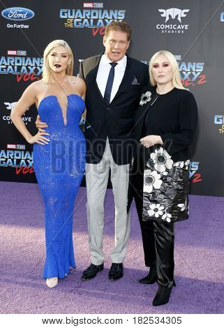 David Hasselhoff, Hayley Hasselhoff and Taylor Ann Hasselhoff at the Los Angeles premiere of 'Guardians Of The Galaxy Vol. 2' held at the Dolby Theatre in Hollywood, USA on April 19, 2017.