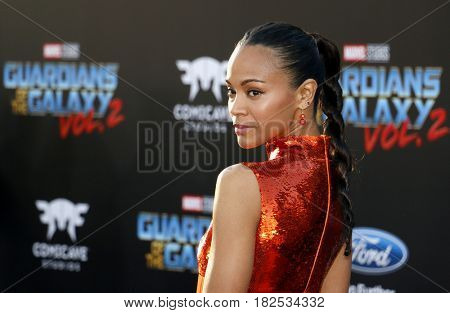 Zoe Saldana at the Los Angeles premiere of 'Guardians Of The Galaxy Vol. 2' held at the Dolby Theatre in Hollywood, USA on April 19, 2017.