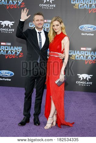 Chris Hardwick and Lydia Hearst at the Los Angeles premiere of 'Guardians Of The Galaxy Vol. 2' held at the Dolby Theatre in Hollywood, USA on April 19, 2017.