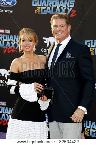 David Hasselhoff and Hayley Roberts at the Los Angeles premiere of 'Guardians Of The Galaxy Vol. 2' held at the Dolby Theatre in Hollywood, USA on April 19, 2017.