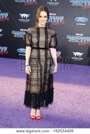 Elizabeth Henstridge at the Los Angeles premiere of 'Guardians Of The Galaxy Vol. 2' held at the Dolby Theatre in Hollywood, USA on April 19, 2017.