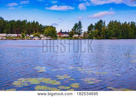 Caravan Park At The Lake In Finland