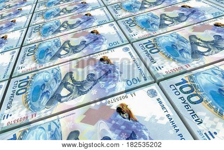 Russian ruble bills stacked background. 3D illustration.