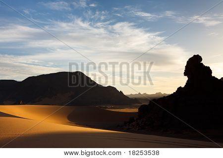 Akakus (acacus) Mountains, Sahara, Libya At Sunset
