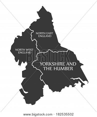 North East And North West England - Yorkshire And The Humber Map Uk Illustration