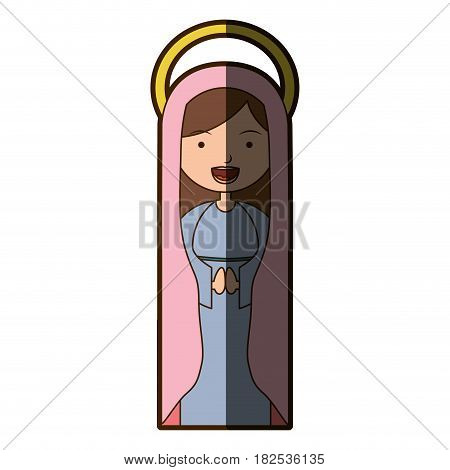 white background of beautiful virgin with pink mantle and aura with half shadow vector illustration
