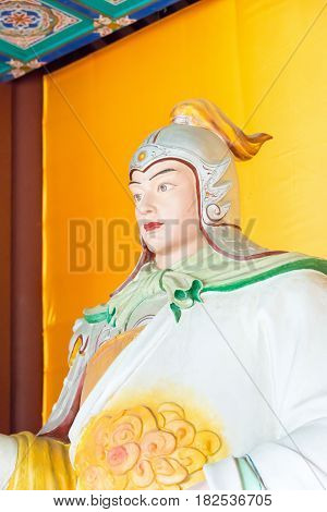 Hebei, China - Oct 23 2015: Zhao Yun Statue At Zhaoyun Temple. A Famous Historic Site In Zhengding,